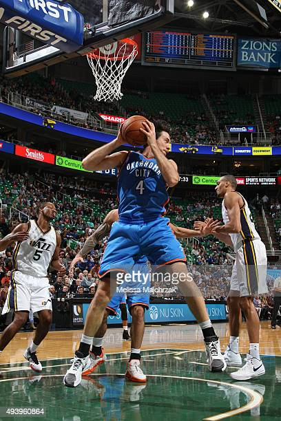 Nick Collison of the Oklahoma City Thunder grabs the rebound against the Utah Jazz during the preseason game on October 20 2015 at EnergySolutions...