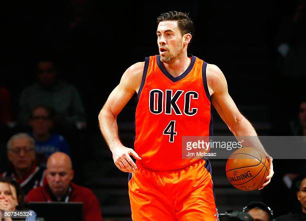 Nick Collison of the Oklahoma City Thunder in action against the Brooklyn Nets at Barclays Center on January 24 2016 in the Brooklyn borough of New...