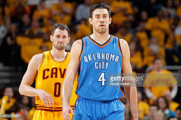 Nick Collison of the Oklahoma City Thunder looks on during the game against the Cleveland Cavaliers on January 25 2015 at Quicken Loans Arena in...