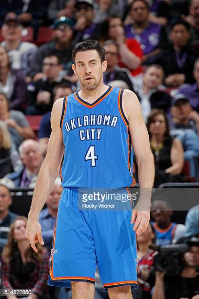 Nick Collison of the Oklahoma City Thunder looks on during the game against the Sacramento Kings on February 29 2016 at Sleep Train Arena in...