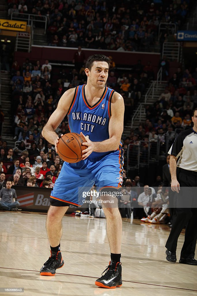 Nick Collison #4 of the Oklahoma City Thunder looks to pass the ball against the Cleveland Cavaliers at The Quicken Loans Arena on February 2, 2013 in Cleveland, Ohio.