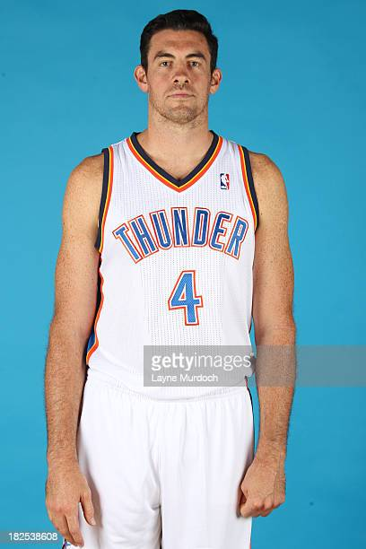 Nick Collison of the Oklahoma City Thunder poses for a portrait during 2013 NBA Media Day on September 27 2013 at the Thunder Events Center in Edmond...