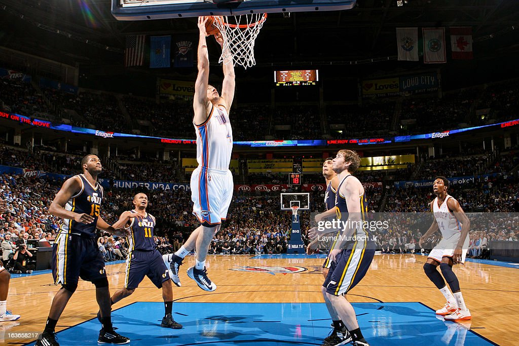 <a gi-track='captionPersonalityLinkClicked' href=/galleries/search?phrase=Nick+Collison&family=editorial&specificpeople=202843 ng-click='$event.stopPropagation()'>Nick Collison</a> #4 of the Oklahoma City Thunder rises for a dunk against the Utah Jazz on March 13, 2013 at the Chesapeake Energy Arena in Oklahoma City, Oklahoma.