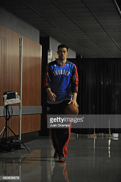Nick Collison of the Oklahoma City Thunder runs out before Game Four of the Western Conference Semifinals against the Los Angeles Clippers during the...