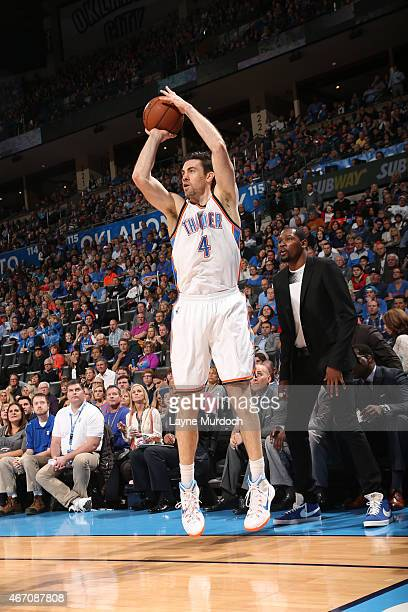 Nick Collison of the Oklahoma City Thunder shoots against the Atlanta Hawks on March 20 2015 at Chesapeake Energy Arena in Oklahoma City Oklahoma...