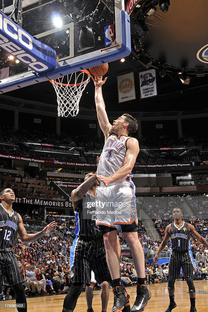 <a gi-track='captionPersonalityLinkClicked' href=/galleries/search?phrase=Nick+Collison&family=editorial&specificpeople=202843 ng-click='$event.stopPropagation()'>Nick Collison</a> #4 of the Oklahoma City Thunder shoots against the Orlando Magic on March 22, 2013 at Amway Center in Orlando, Florida.