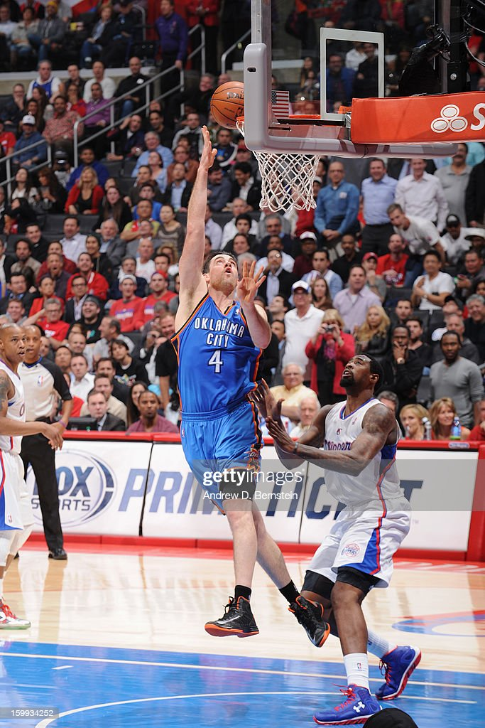 <a gi-track='captionPersonalityLinkClicked' href=/galleries/search?phrase=Nick+Collison&family=editorial&specificpeople=202843 ng-click='$event.stopPropagation()'>Nick Collison</a> #4 of the Oklahoma City Thunder shoots the ball against the Los Angeles Clippers at Staples Center on January 22, 2013 in Los Angeles, California.