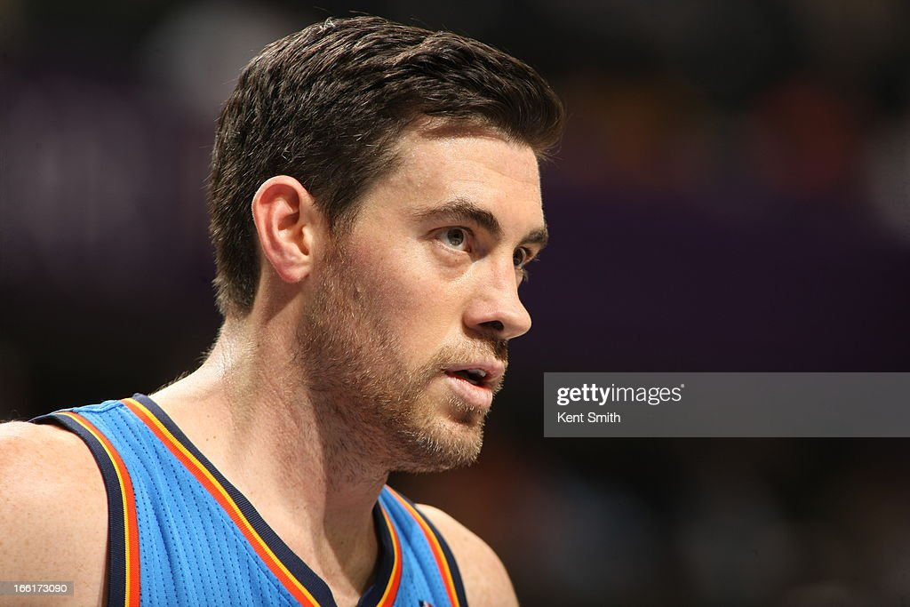 <a gi-track='captionPersonalityLinkClicked' href=/galleries/search?phrase=Nick+Collison&family=editorial&specificpeople=202843 ng-click='$event.stopPropagation()'>Nick Collison</a> #4 of the Oklahoma City Thunder stands on the court during the game against the Charlotte Bobcats at the Time Warner Cable Arena on March 8, 2013 in Charlotte, North Carolina.