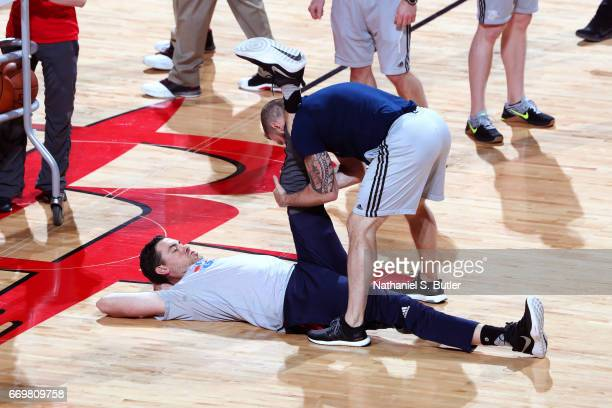 Nick Collison of the Oklahoma City Thunder stretches before the Western Conference Quarterfinals game against the Houston Rockets during the 2017 NBA...