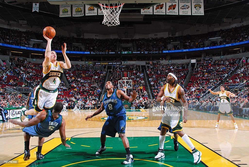 Nick Collison #4 of the Seattle SuperSonics shoots over Craig Smith #5 of the Minnesota Timberwolves during the game at Key Arena on December 29, 2007 in Seattle, Washington. The Sonics won 109-90.