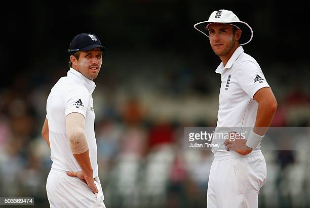 Nick Compton and Stuart Broad of England look on during day three of the 2nd Test at Newlands Stadium on January 4 2016 in Cape Town South Africa