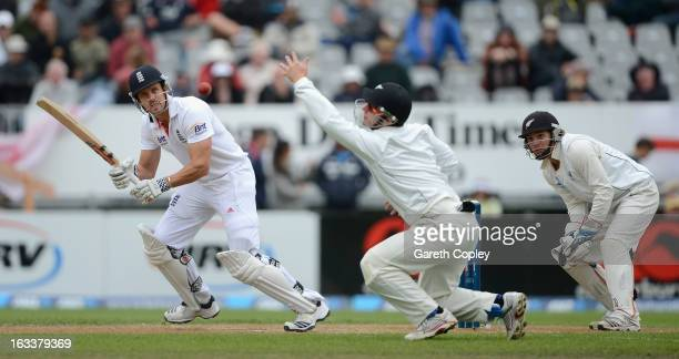 Nick Compton of England bats during day four of the First Test match between New Zealand and England at University Oval on March 9 2013 in Dunedin...