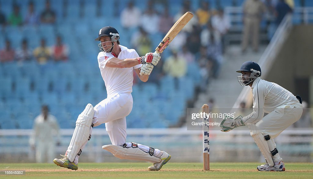 <a gi-track='captionPersonalityLinkClicked' href=/galleries/search?phrase=Nick+Compton&family=editorial&specificpeople=654760 ng-click='$event.stopPropagation()'>Nick Compton</a> of England bats during day three of the tour match between Mumbai A and England at The Dr D.Y. Palit Sports Stadium on November 5, 2012 in Mumbai, India.