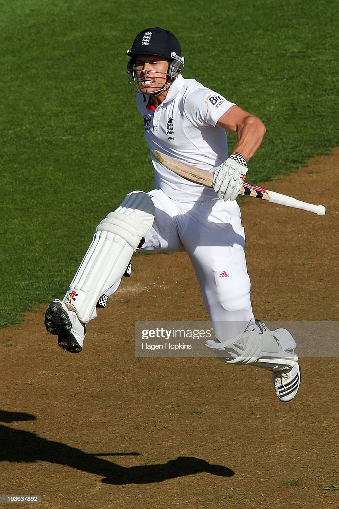 <a gi-track='captionPersonalityLinkClicked' href=/galleries/search?phrase=Nick+Compton&family=editorial&specificpeople=654760 ng-click='$event.stopPropagation()'>Nick Compton</a> of England celebrates his century during day one of the Second Test match between New Zealand and England at the Basin Reserve on March 14, 2013 in Wellington, New Zealand.