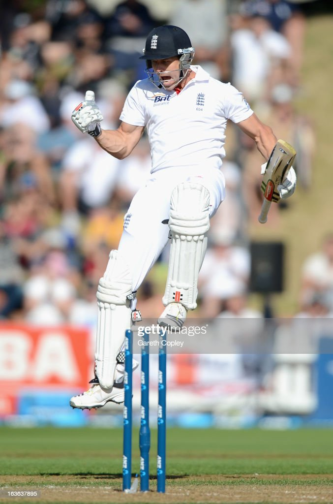 <a gi-track='captionPersonalityLinkClicked' href=/galleries/search?phrase=Nick+Compton&family=editorial&specificpeople=654760 ng-click='$event.stopPropagation()'>Nick Compton</a> of England celebrates reaching his century during day one of the 2nd Test match between New Zealand and England at Basin Reserve on March 14, 2013 in Wellington, New Zealand.