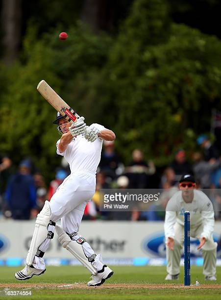 Nick Compton of England hits four runs during day four of the First Test match between New Zealand and England at University Oval on March 9 2013 in...