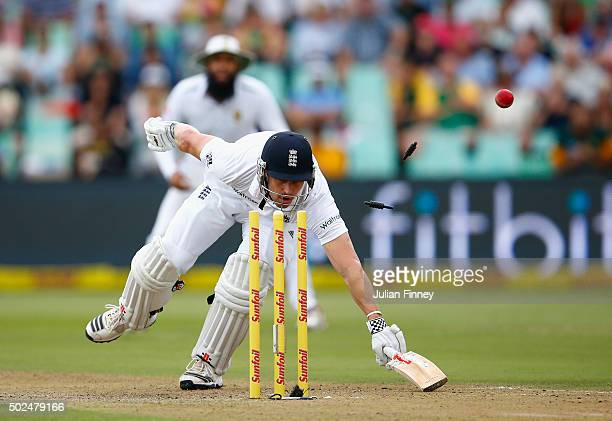 Nick Compton of England just makes it back safe after an attempted run out during day one of the 1st Test between South Africa and England at Sahara...