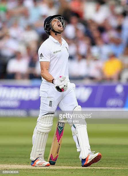 Nick Compton of England reacts after being dismissed by Shaminda Eranga of Sri Lanka during day three of the 3rd Investec Test match between England...
