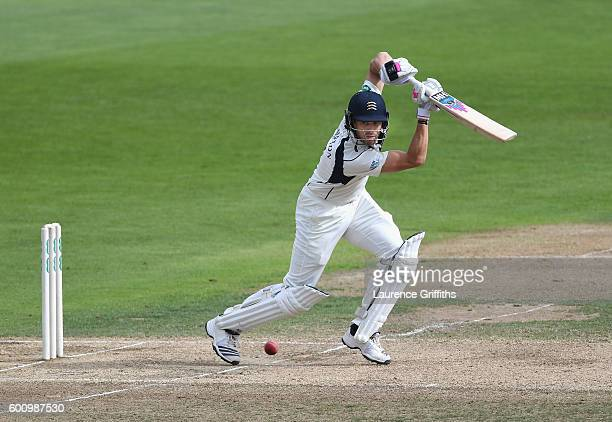 Nick Compton of Middlesex hits out during Day 4 of the LV County Championship match between Nottinghamshire and Middlesex at Trent Bridge on...