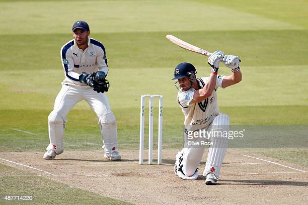 Nick Compton of Middlesex in action during the LV County Championship between Middlesex and Yorkshire at Lord's Cricket Ground on September 11 2015...