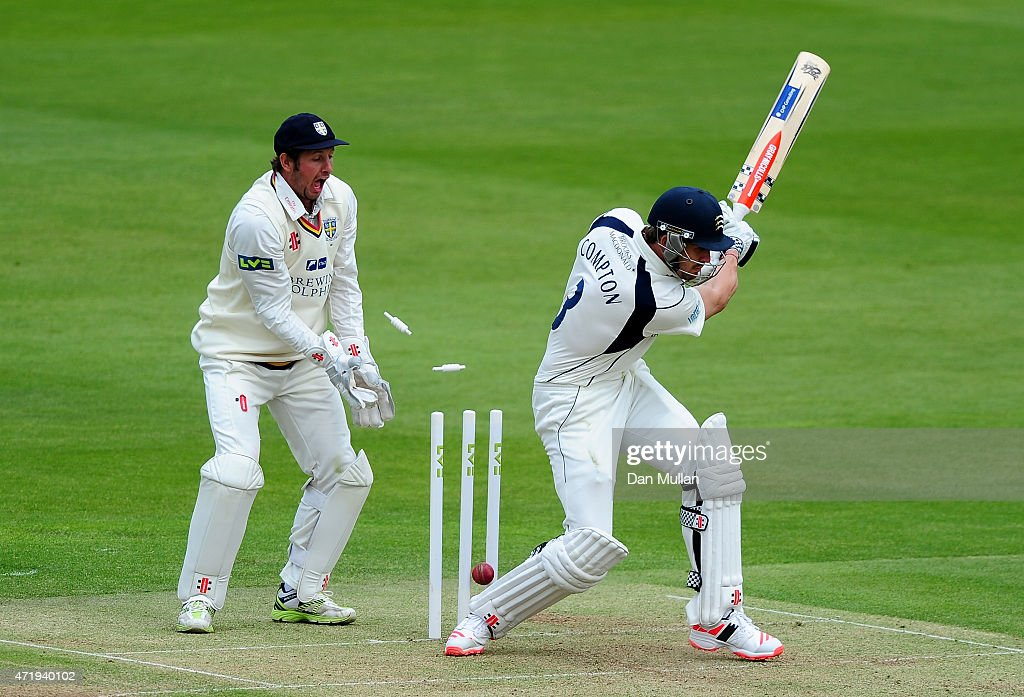 <a gi-track='captionPersonalityLinkClicked' href=/galleries/search?phrase=Nick+Compton&family=editorial&specificpeople=654760 ng-click='$event.stopPropagation()'>Nick Compton</a> of Middlesex is bowled by <a gi-track='captionPersonalityLinkClicked' href=/galleries/search?phrase=Scott+Borthwick&family=editorial&specificpeople=5644012 ng-click='$event.stopPropagation()'>Scott Borthwick</a> of Durham during day one of the LV County Championship match between Middlesex and Durham at Lord's Cricket Ground on May 2, 2015 in London, England.