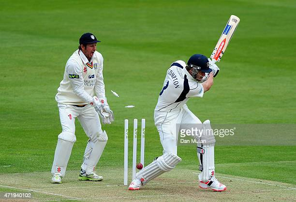 Nick Compton of Middlesex is bowled by Scott Borthwick of Durham during day one of the LV County Championship match between Middlesex and Durham at...