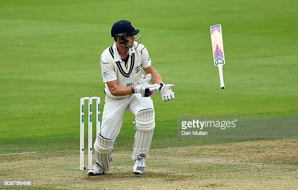 Nick Compton of Middlesex loses control of his bat whilst batting during day one of the Specsavers County Championship Division One match between...