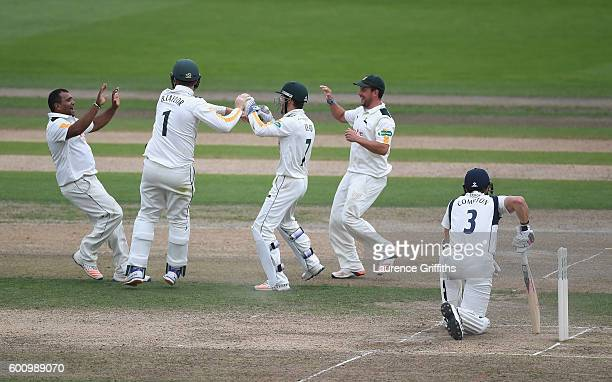Nick Compton of Middlesex shows his dissapointment after being run out by Jake Libby of Nottinghamshire for 63 runs during Day 4 of the LV County...