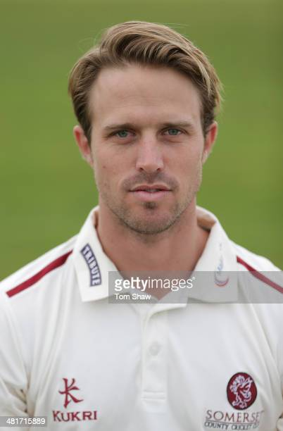 Nick Compton of Somerset poses for a picture during the Somerset County Cricket Club Photocall at the County Ground on March 31 2014 in Taunton...