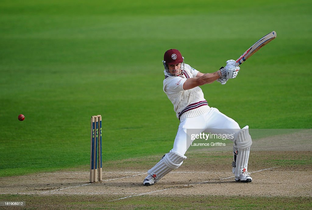 <a gi-track='captionPersonalityLinkClicked' href=/galleries/search?phrase=Nick+Compton&family=editorial&specificpeople=654760 ng-click='$event.stopPropagation()'>Nick Compton</a> of Somerset smashes the ball to the boundary during day three of the LV County Championship division one match between Nottinghamshire and Somerset at Trent Bridge on September 26, 2013 in Nottingham, England.