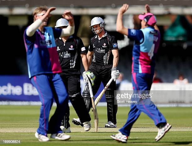 Nick Comtpon of Somerset looks dejected after losing his wicket during the Yorkshire Bank 40 match between Middlesex and Somerset at Lord's Cricket...