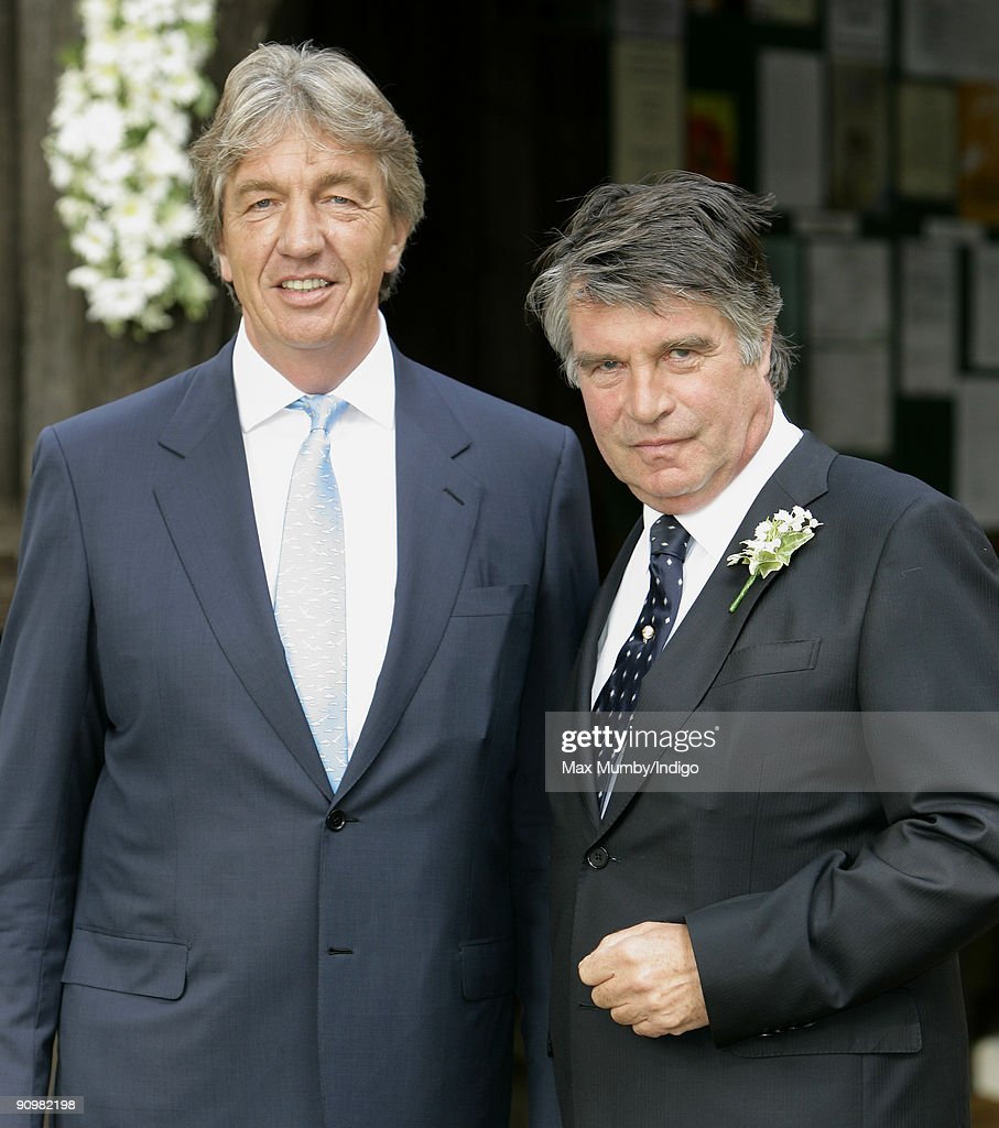 Nick Cook and Oliver Tobias arrive a St. Nicholas Church for Nick's wedding to Eimear Montgomerie (ex-wife of golfer Colin Montgomerie) on September 20, 2009 in Cranleigh, England.