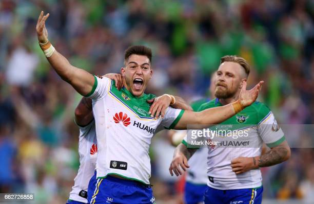 Nick Cotric of the Raiders celebrates a try during the round five NRL match between the Canberra Raiders and the Parramatta Eels at GIO Stadium on...