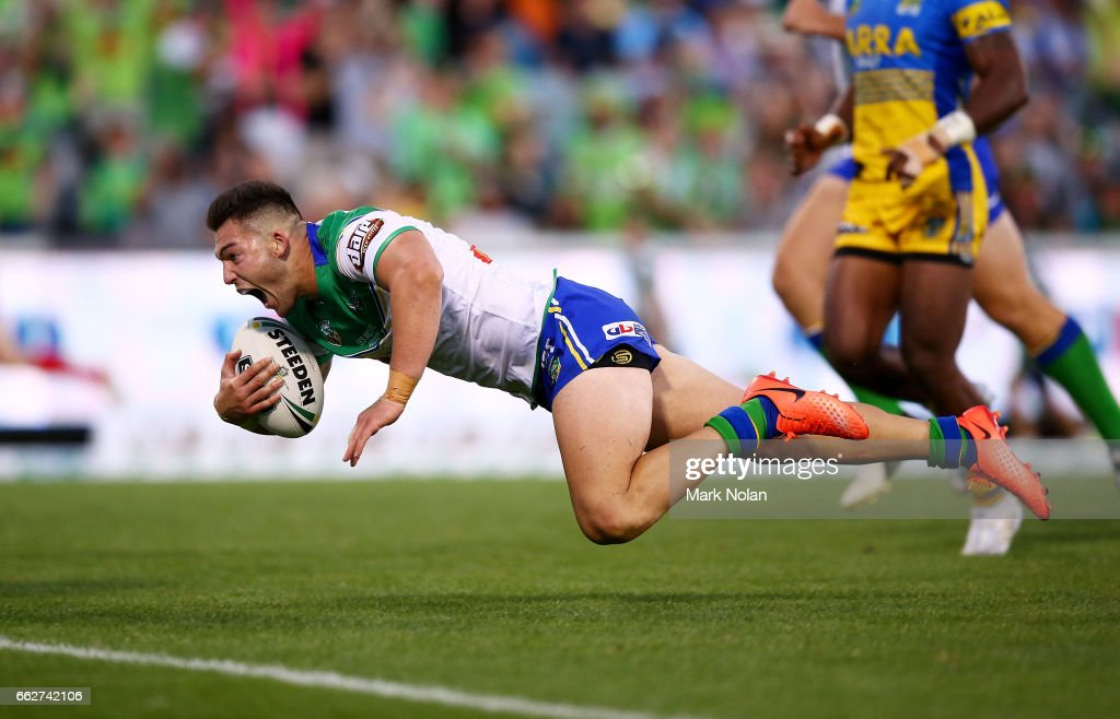 Nick Cotric of the Raiders dives to score during the round five NRL match between the Canberra Raiders and the Parramatta Eels at GIO Stadium on April 1, 2017 in Canberra, Australia.