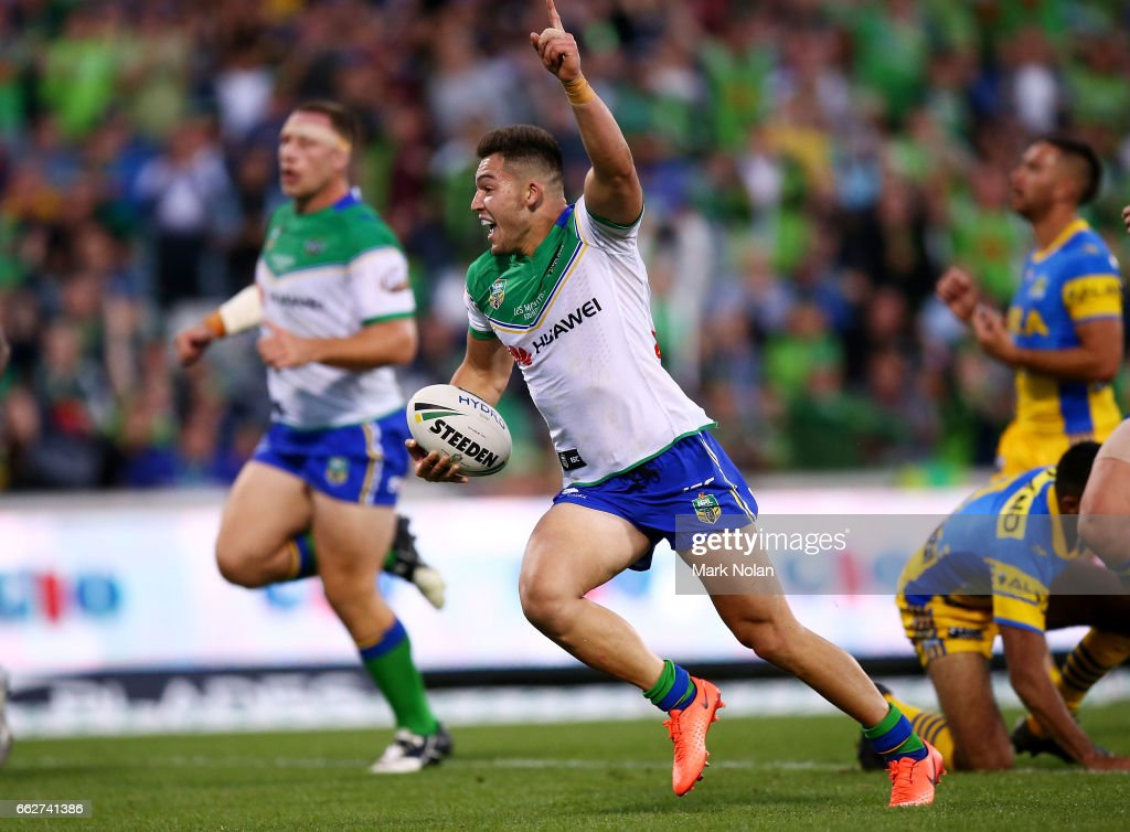 Nick Cotric of the Raiders heads to the try line to score during the round five NRL match between the Canberra Raiders and the Parramatta Eels at GIO Stadium on April 1, 2017 in Canberra, Australia.