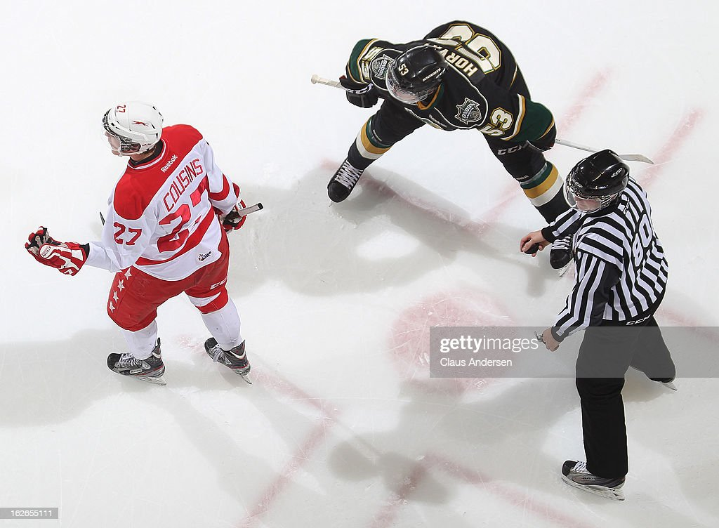 Nick Cousins #27 of the Sault Ste. Marie Greyhounds is waved out of the faceoff circle in an OHL game against the London Knights on February 22, 2013 at the Budweiser Gardens in London, Ontario, Canada. The Knights defeated the Greyhounds 4-3 in overtime.