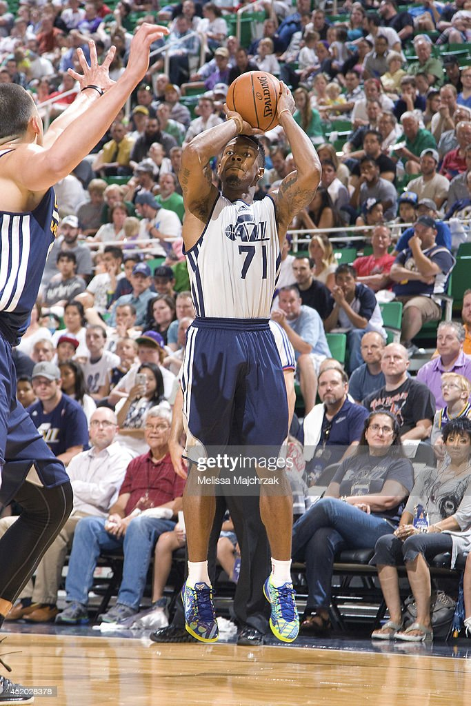 Nick Covington #71 of the Utah Jazz shoots during an open scrimmage at Energy Solutions Arena on July 8, 2014 in Salt Lake City, Utah.