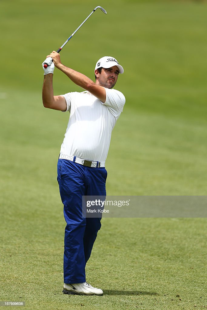 Nick Cullen of Australia plays a shot on the fairway during round three of the 2012 Australian Open at The Lakes Golf Club on December 8, 2012 in Sydney, Australia.
