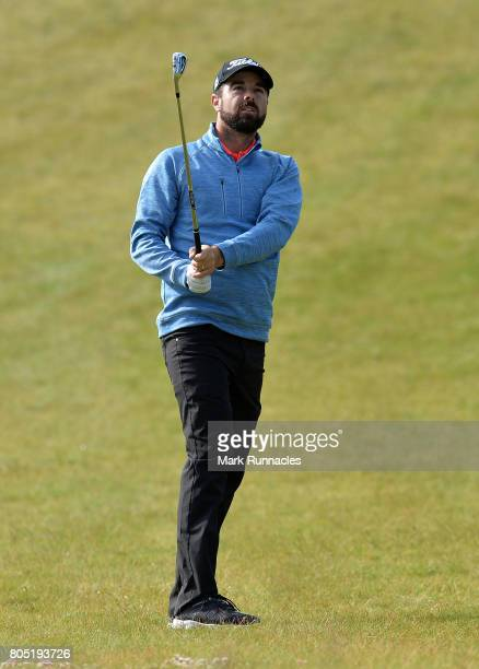 Nick Cullen of Australia plays his second shot to the 1st hole during the third day of the 2017 SSE Scottish Hydro Challenge hosted by MacDonald...