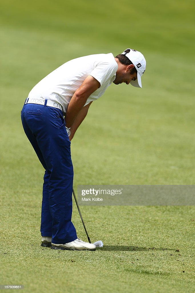 Nick Cullen of Australia reacts after a shot on the fairway during round three of the 2012 Australian Open at The Lakes Golf Club on December 8, 2012 in Sydney, Australia.