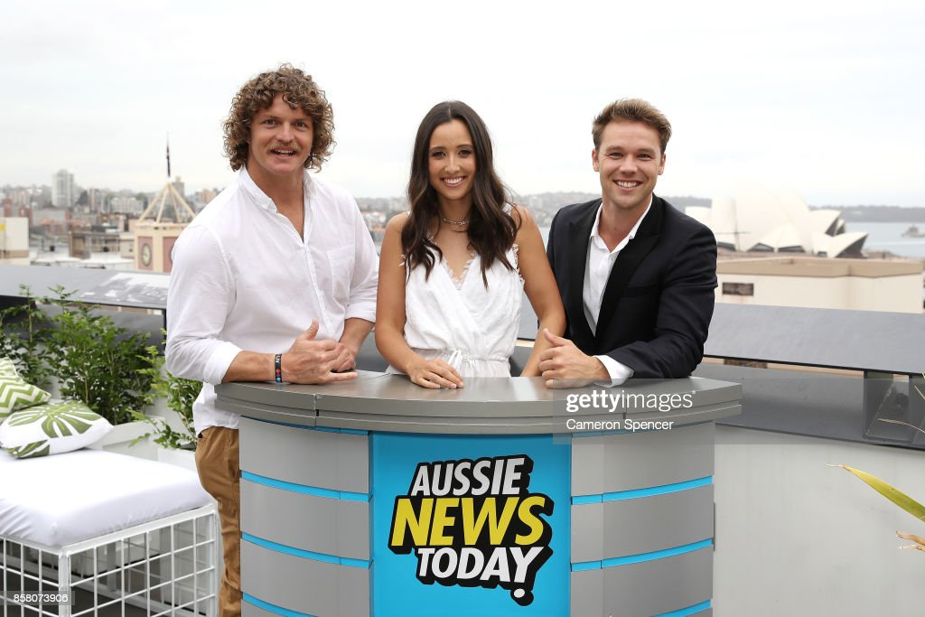 Nick (The Honey Badger) Cummins, Teigan Nash, and Lincoln Lewis attend the launch of Aussie News Today, as part of Tourism Australia's new youth campaign on October 6, 2017 in Sydney, Australia.