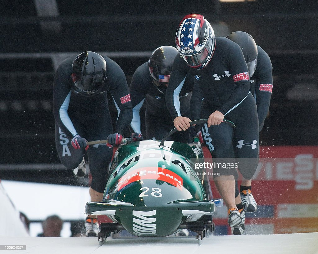 Nick Cunningham, Adam Clark, Andreas Drbal, and Christopher Fogt of USA 2 compete in the four-man bobsleigh on day 2 of the IBSF 2012 Bobsleigh and Skeleton World Cup on November 24, 2012 at the Whistler Sliding Centre in Whistler, British Columbia, Canada.