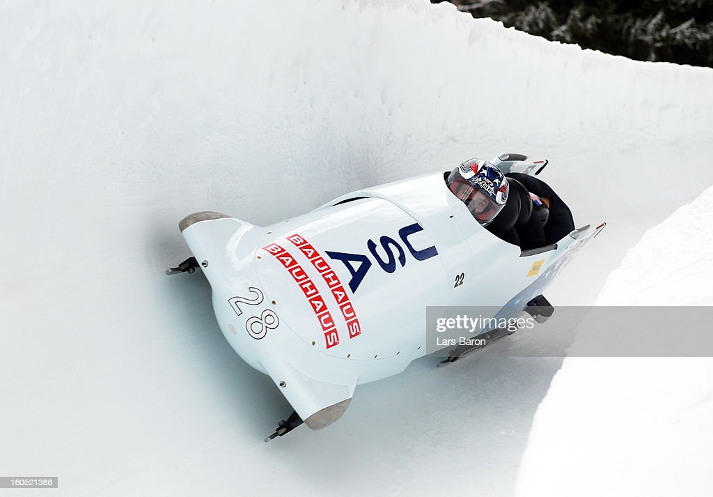 Nick Cunningham, Adam Clark, Andreas Drbal and Christopher Fogt of USA compete during the Four Men Bobsleigh heat one of the IBSF Bob & Skeleton World Championship at Olympia Bob Run on February 2, 2013 in St Moritz, Switzerland.
