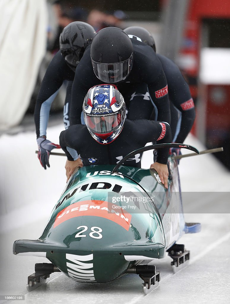 <a gi-track='captionPersonalityLinkClicked' href=/galleries/search?phrase=Nick+Cunningham&family=editorial&specificpeople=4233037 ng-click='$event.stopPropagation()'>Nick Cunningham</a> drives USA 2 sled to a fifth place finish in the FIBT Men's Four Man Bobsled World Cup Heat 1 at Utah Olympic Park on November 17, 2012 in Park City, Utah.