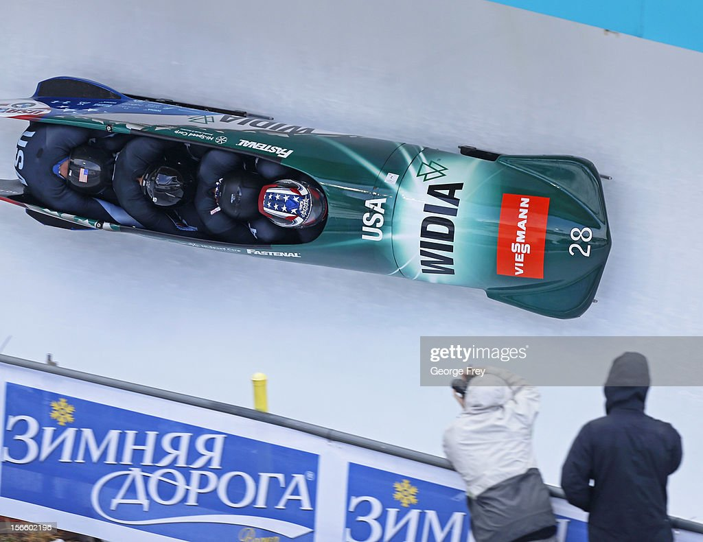 <a gi-track='captionPersonalityLinkClicked' href=/galleries/search?phrase=Nick+Cunningham&family=editorial&specificpeople=4233037 ng-click='$event.stopPropagation()'>Nick Cunningham</a> drives USA 2 sled to a fifth place finish in the FIBT Men's Four Man Bobsled World Cup Heat 2 at Utah Olympic Park on November 17, 2012 in Park City, Utah.
