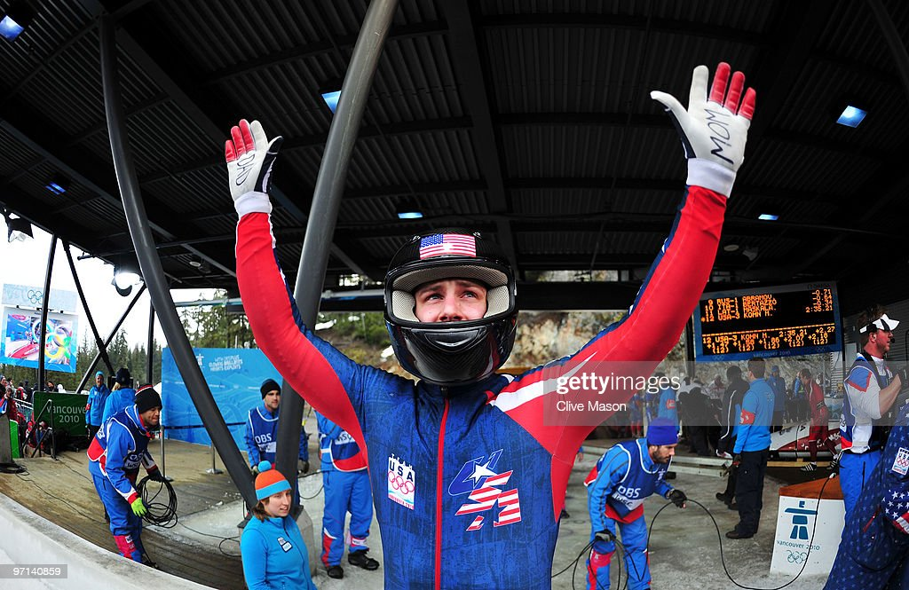 <a gi-track='captionPersonalityLinkClicked' href=/galleries/search?phrase=Nick+Cunningham&family=editorial&specificpeople=4233037 ng-click='$event.stopPropagation()'>Nick Cunningham</a> of USA 3 reacts after his team competes in the third run of the men's four man bobsleigh on day 16 of the 2010 Vancouver Winter Olympics at the Whistler Sliding Centre on February 27, 2010 in Whistler, Canada.