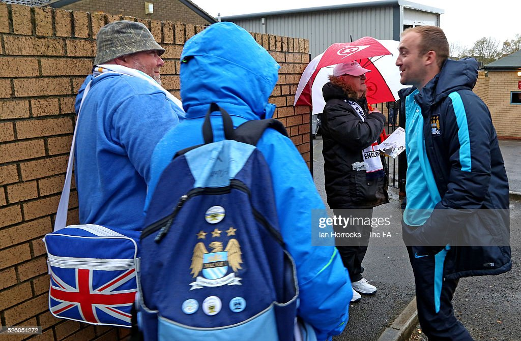 Nick Cushing head coach of Manchester City Women chats with fans before the WSL 1 match between Sunderland AFC Ladies and Manchester City Women at The Hetton Center on April 29, 2016 in Hetton, England.