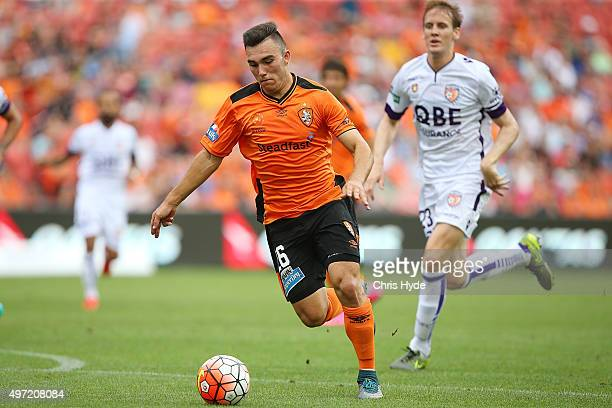 Nick D'Agostino of the Roar kicks during the round six ALeague match between Brisbane Roar and Perth Glory at Suncorp Stadium on November 15 2015 in...