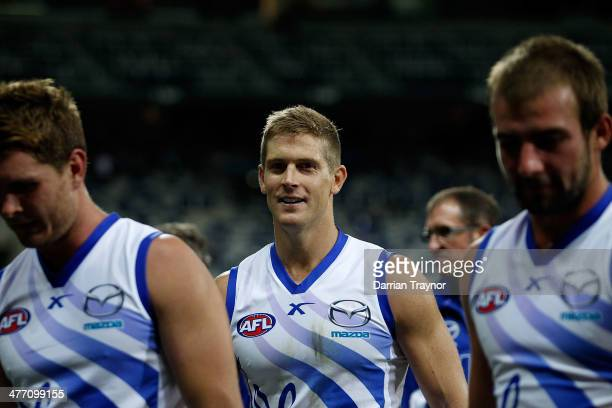 Nick Dal Santo of North Melbourne walks from the ground after the AFL Practice Match between the Geelong Cats and the North Melbourne Kangaroos at...