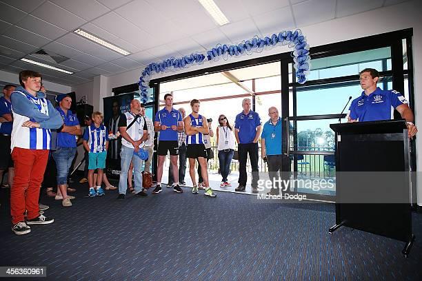 Nick Dal Santo speaks to the fans after a North Melbourne Kangaroos AFL training session at Aegis Park on December 14 2013 in Melbourne Australia
